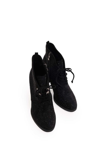 Taş Detaylı Topuklu Bot (Siyah) - Thumbnail
