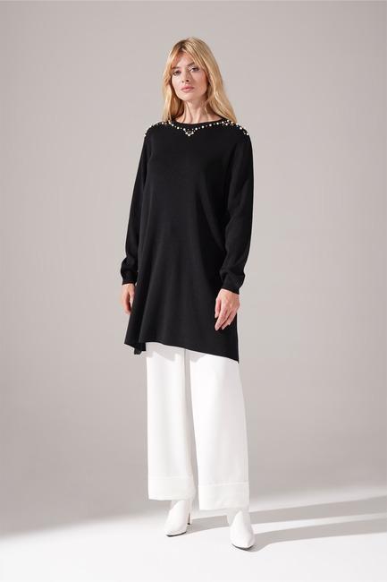 Mizalle - Taş Detaylı Triko Tunik (Siyah)