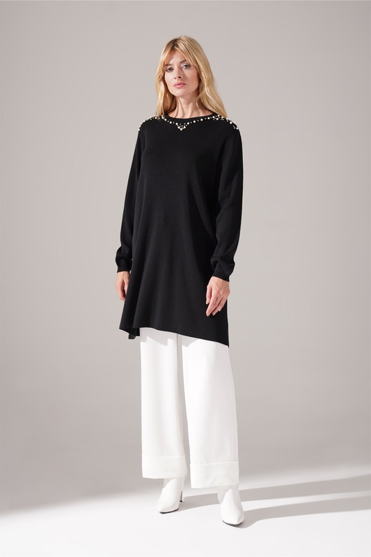Taş Detaylı Triko Tunik (Siyah)