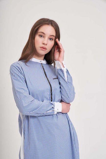 Taş Detaylı Mavi Tunik Gömlek - Thumbnail