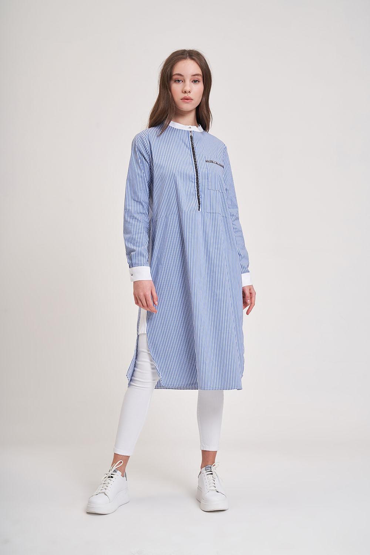 Taş Detaylı Mavi Tunik Gömlek