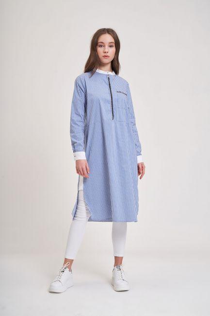 Mizalle - Taş Detaylı Tunik Gömlek (Mavi)