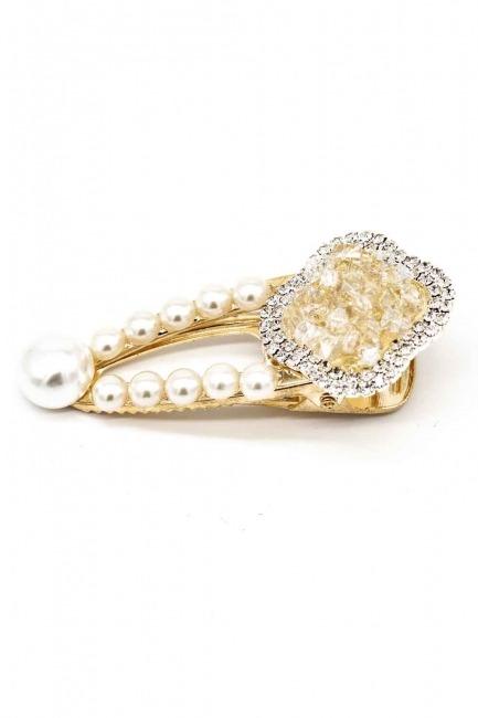 Stone Pearl Hair Clips - Thumbnail