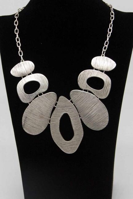 Tasarım Antik Gümüş Kaplama Kolye - Thumbnail