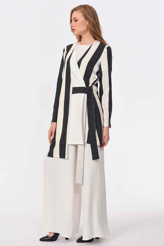 MIZALLE Tasarım Çizgili Ceket (Siyah-Beyaz) (1)