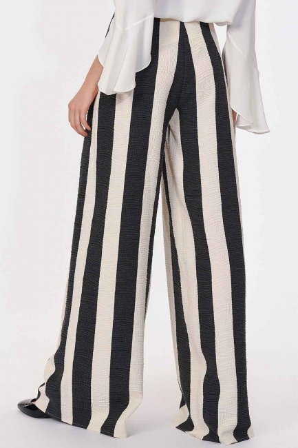 Striped Trousers (Black/White) - Thumbnail