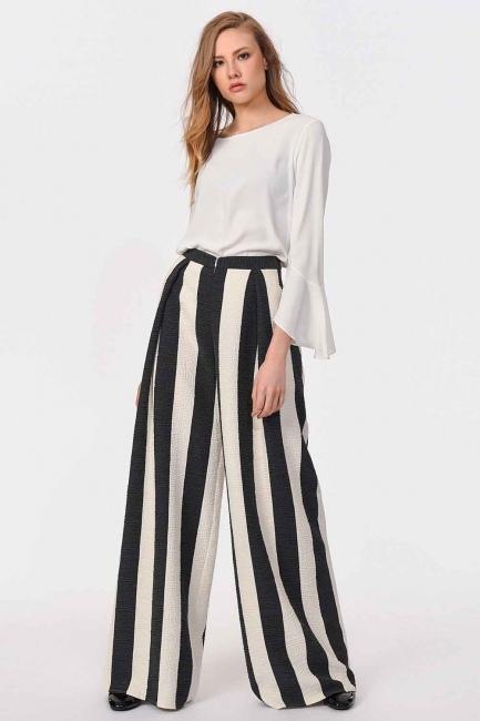 MIZALLE - Tasarım Çizgili Pantolon (Siyah/Beyaz) (1)