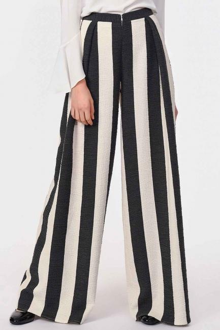 Tasarım Çizgili Pantolon (Siyah/Beyaz) - Thumbnail