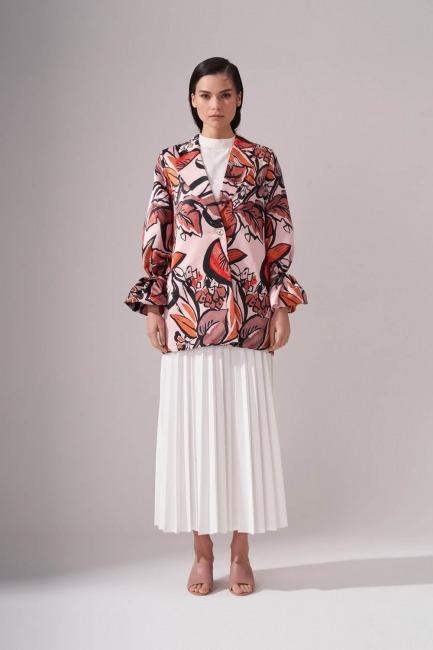 Mizalle - Çiçek Desenli Ceket
