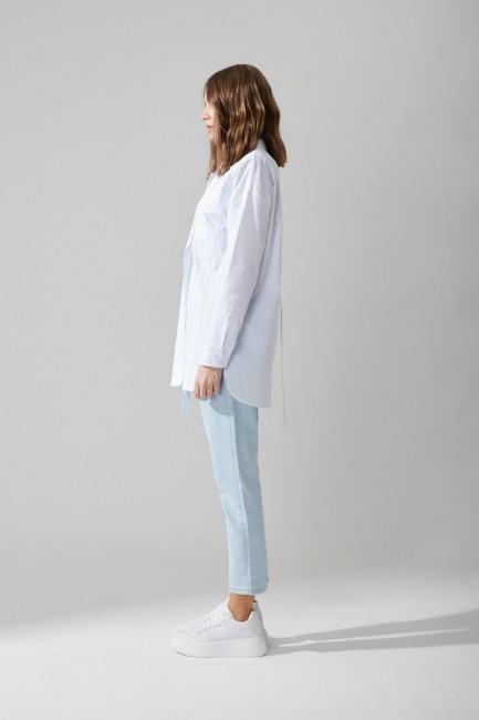 Poplin Beyaz Gömlek - Thumbnail