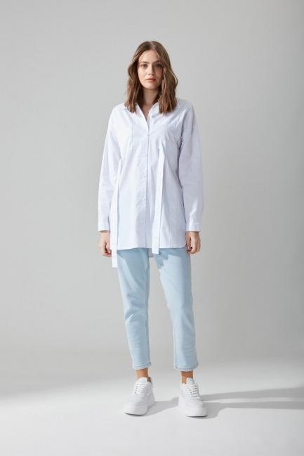 Mizalle - Poplin Beyaz Gömlek