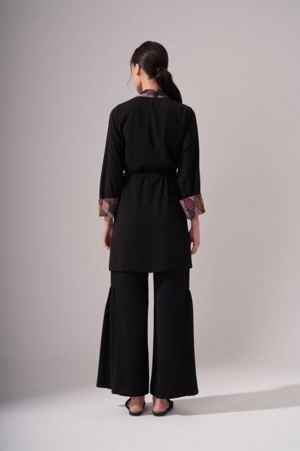 Tasarım Siyah Kimono - Thumbnail