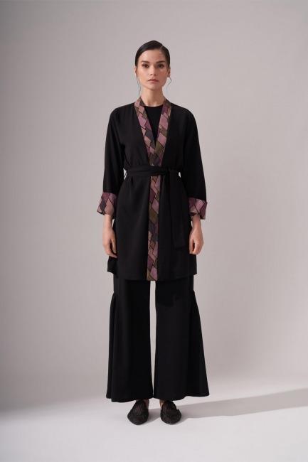 Mizalle - Tasarım Kimono (Siyah)