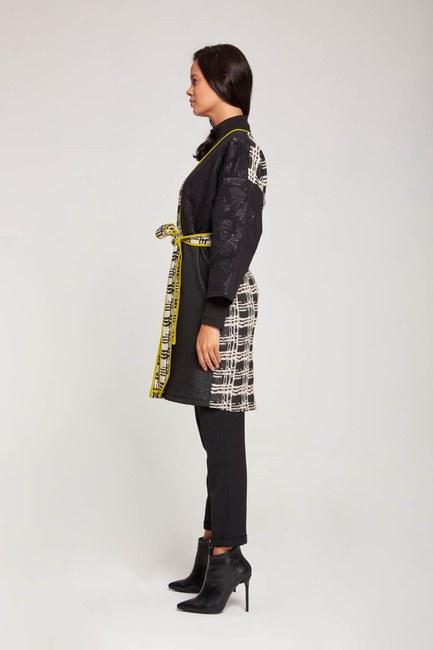 Tasarım Renkli Uzun Kimono (Siyah/Beyaz) - Thumbnail