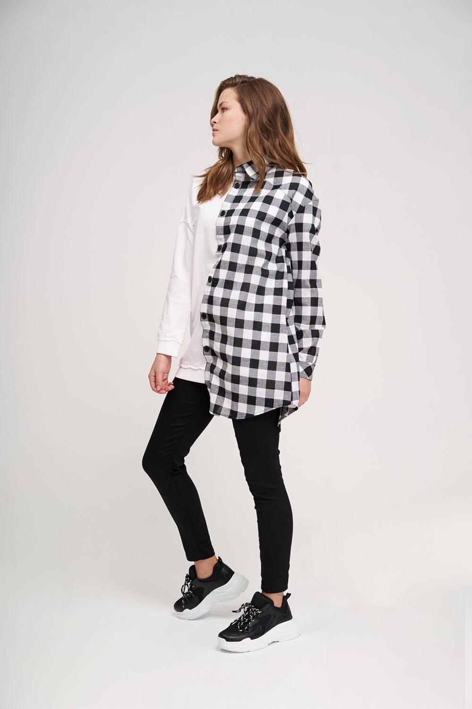 Tasarım Detaylı Beyaz Sweatshirt Gömlek