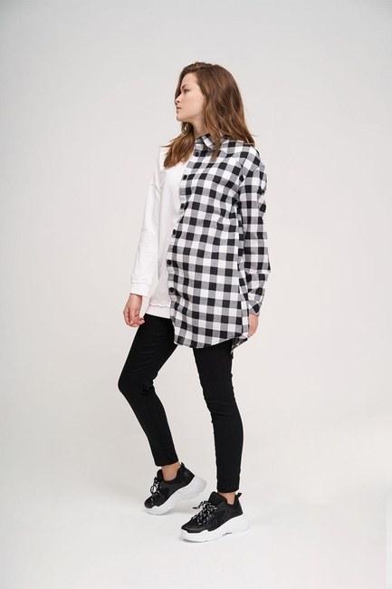 Mizalle - Tasarım Sweatshirt Gömlek (Beyaz)