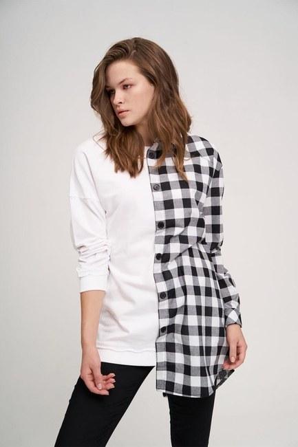 MIZALLE YOUTH - Tasarım Sweatshirt Gömlek (Beyaz) (1)