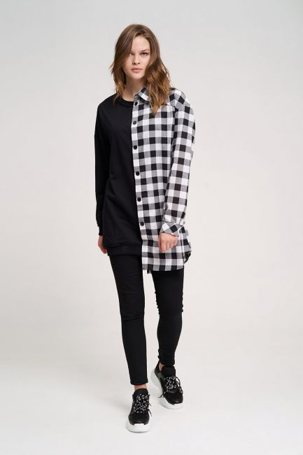 Mizalle - Tasarım Sweatshirt Gömlek (Siyah)