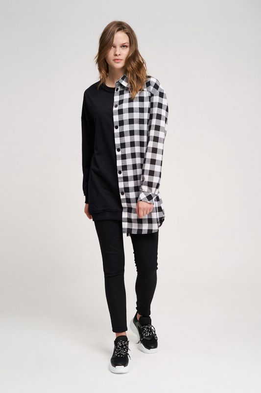 Tasarım Sweatshirt Gömlek (Siyah)