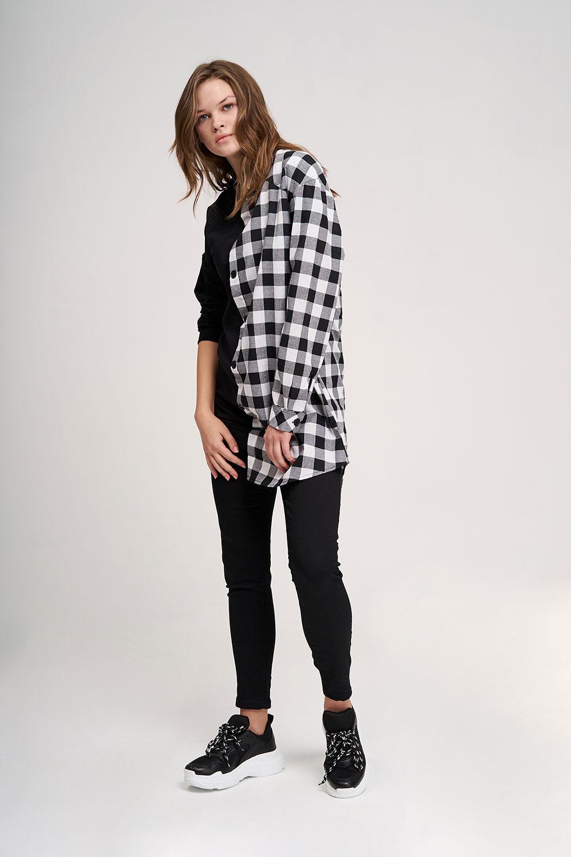 Tasarım Detaylı Siyah Sweatshirt Gömlek