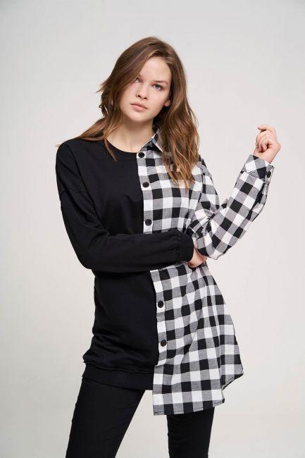 Tasarım Detaylı Siyah Sweatshirt Gömlek - Thumbnail