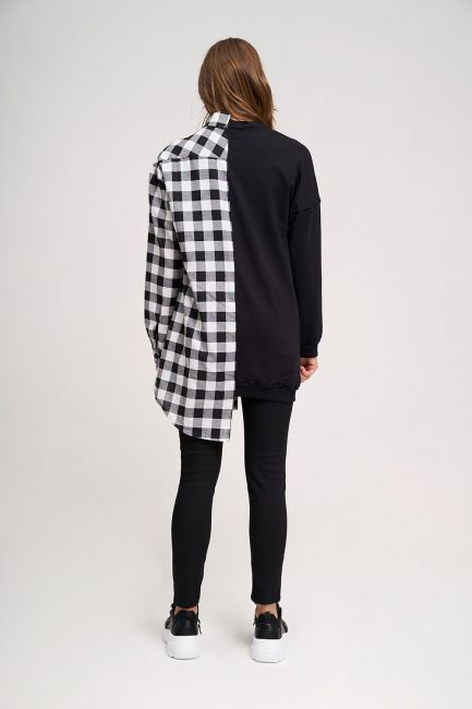 Tasarım Sweatshirt Gömlek (Siyah) - Thumbnail
