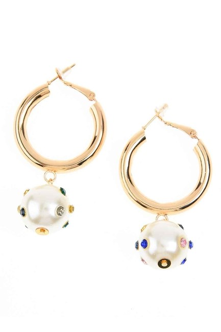 MIZALLE - Stony and Beaded Ring Earrings (St) (1)