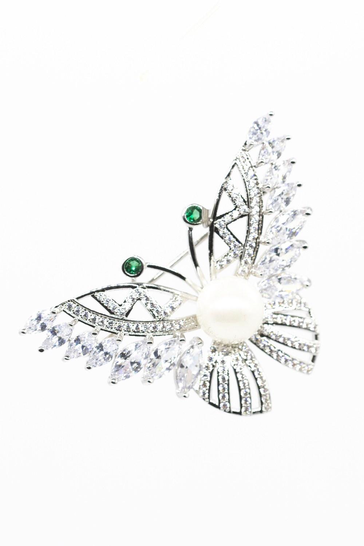 Taşlı Çiçek Broş (Gri)