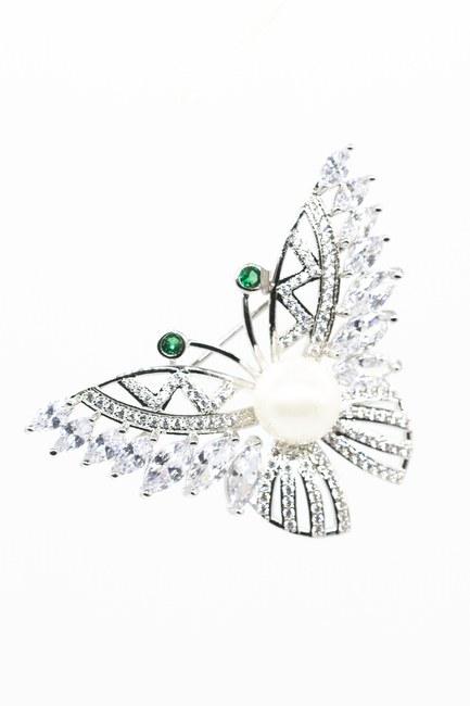 MIZALLE - Taşlı Çiçek Broş (Gri) (1)