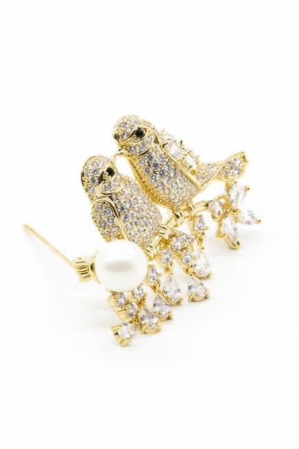 MIZALLE - بروش زركون بشكل طائر (الذهب) (1)