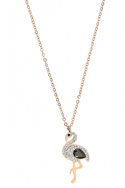 Taşlı Pelikan Çelik Kolye (St) - Thumbnail