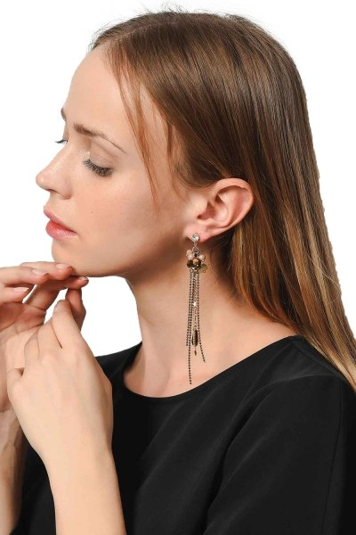 MIZALLE Earrings With Stones Swinging (Brown)