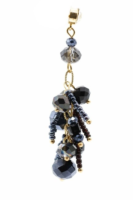 Earrings With Stones Swinging (Dark Blue) - Thumbnail