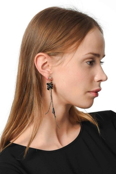Swinging Earring With Stones (Black) - Thumbnail