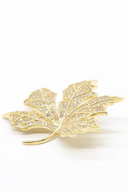 MIZALLE - Taşlı Yaprak Broş (Sarı) (1)