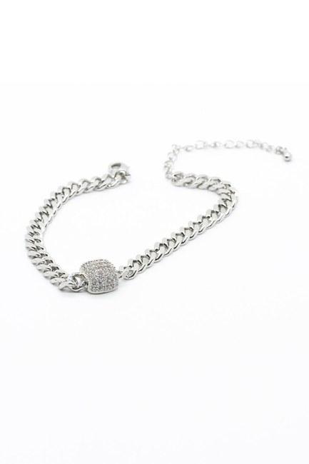 MIZALLE - Stoned Chain Bracelet (Grey) (1)