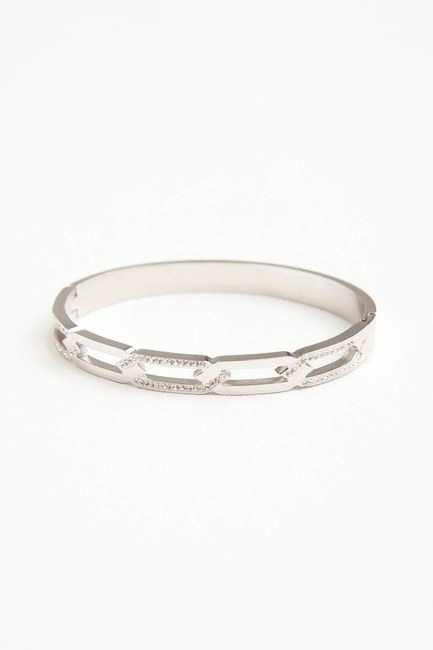MIZALLE - Chain Steel Bracelet (Grey) (1)
