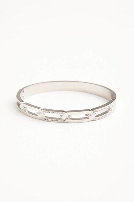 MIZALLE - Taşlı Zincir Çelik Bileklik (Silver) (1)