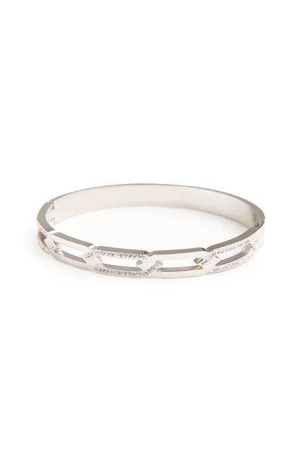 MIZALLE Chain Steel Bracelet (Silver)