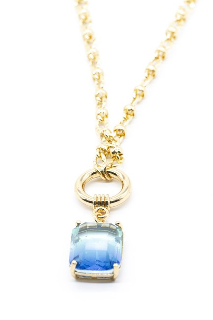 MIZALLE - Stoned Chain Necklace (Blue) (1)