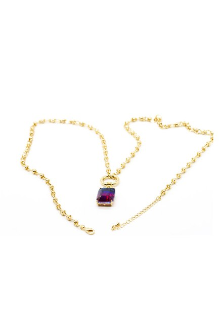MIZALLE - Stoned Chain Necklace (Pink) (1)