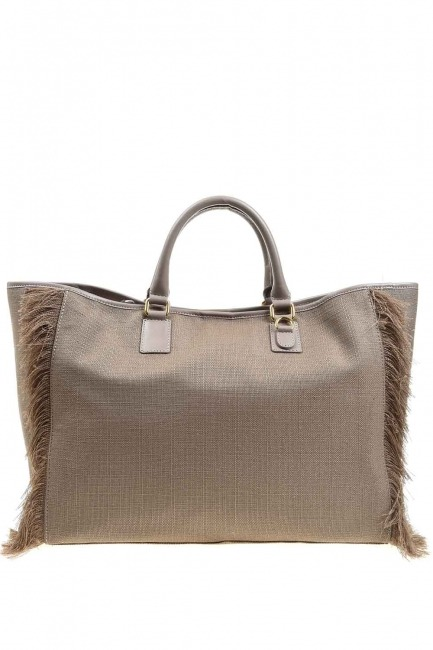 MIZALLE - حقيبة كبيرة بتفاصيل شرابة (بيج) (1)
