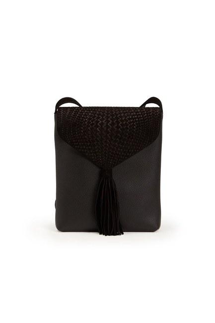 MIZALLE - حقيبة الكتف مزينة بشرائط (أسود) (1)