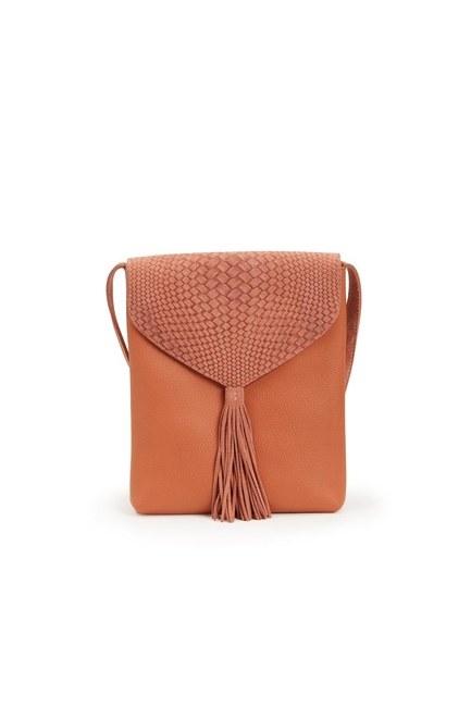 MIZALLE - حقيبة الكتف مزينة بشرائط (سلمون) (1)