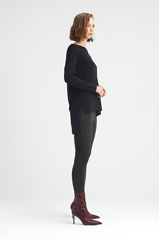 MIZALLE Tayt Pantolon (Siyah) (1)