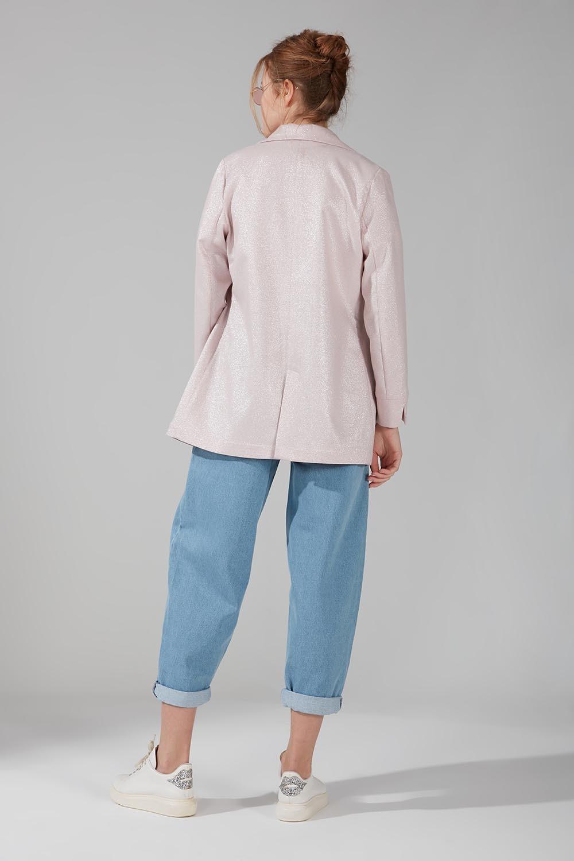 Astarsız Tek Düğmeli Ceket (Pembe)