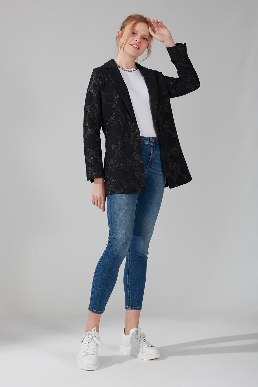Mizalle - Astarsız Tek Düğmeli Ceket (Siyah)
