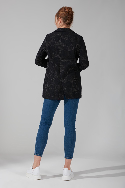 Astarsız Tek Düğmeli Ceket (Siyah) - Thumbnail
