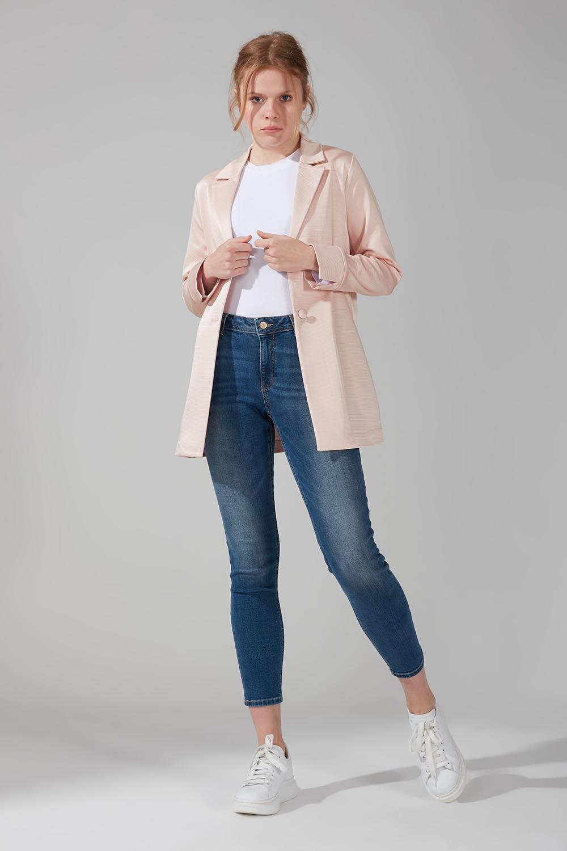 Mizalle - Astarsız Tek Düğmeli Ceket (Somon)