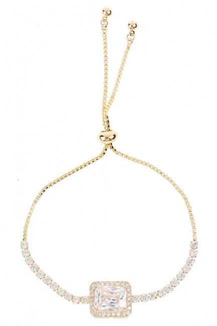 MIZALLE - Tek Taş Bileklik (Gold) (1)